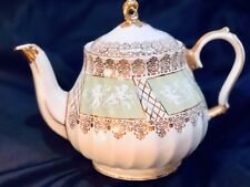 Rare Vintage Sadler Teapot With Cherubs, Green Panels Pattern 3392. England1960s