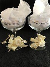 Bride and Groom Lettered Wedding Toast Champagne Glasses Vintage Set of 2