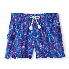 Blue and Floral Printed   Wonder Nation Girls'  Shorts - Size 7/8
