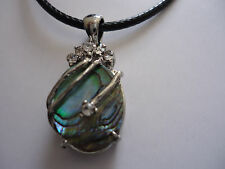 Natural Abalone Paua Shell Pendant with Rhinestones on Black Cord String (E001)