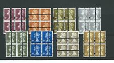 GB MACHIN DEFINITIVES - TRAINING STAMPS - EIGHT DIFF VALUES - BLOCKS OF 4 MINT