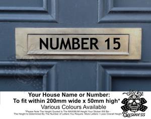 House Name Sticker Letter Post Box Wheelie Bin Business Custom Sign - 19 COLOURS