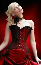 Burlesque Jacquard Corset with Garter Clips  One red and one Pink Sold together