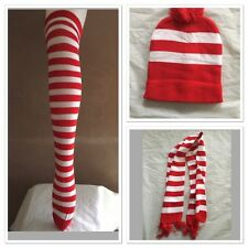 Red and White Stripe Costume Set Socks Hat Scarf Beanie