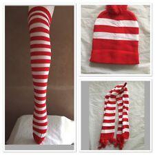 Red And White Stripe Costume Set Socks Hat Scarf Beanie