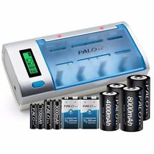 LCD Smart Rechargeable AA AAA C D Size 9V NIMH NICd Battery Charger Universal EU