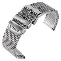 20/22/24mm Stainless Steel Mesh Bracelet Men Pin Buckle Wrist Band Watch Strap