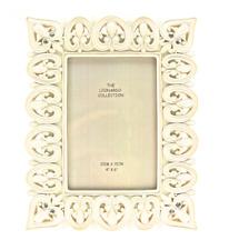Rectangular Antique White Heart Frame with Diamantes 6 x 4 #LP23766