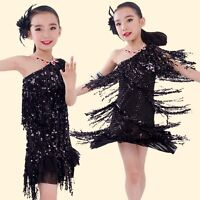 Girl Kid's 1920s Sequin Fringe Charleston Flapper Dance Dresses Samba Costumes
