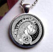 Glass Cabochon MYSTICAL UNICORN Horse  Pendant Necklace UK Seller