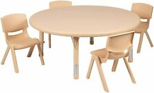 45 inches Natural Plastic Height Adjustable Activity Table Set / 4 Chairs New