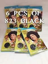 "LOTS OF 6 QFITT ORGANIC ARGAN OIL TREATED X-LARGE SLEEP CAP 24"" BLACK #823"