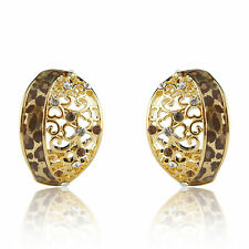 18k Gold GF leopard enamel cameo stud earrings with Swarovski crystals