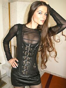 ECHTES LEDER Gothic Corsage Korsett schwarz 4XL Real Leather Ledercorsage G107
