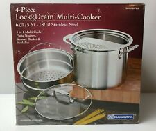NEW Tramontina 18/10 Stainless Steel 4-Piece Lock & Drain 6qt Multi-Cooker Set