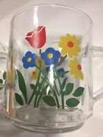 Two Vintage Clear Glass Coffee Tea Mugs Cups Floral Luminarc 13