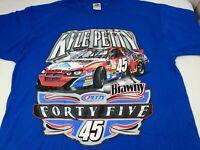 Vintage NASCAR Kyle Petty #45 T-Shirt Front & Back Brawny Size XL Blue Cotton
