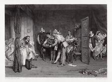"""WOW 1800s orchardson Gravur """"Christopher Sly, Bändigung der Spitzmaus"""" signiert COA"""