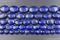 "Natural Lapis Lazuli Gemstone Oval Beads 8mm 10mm 12mm 14mm 16mm 18mm 20mm 15.5"""