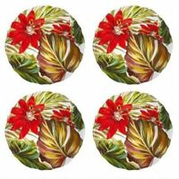 "Coastal Melamine Tropical Salad Dessert Plates 9"" set of 4 Beach Summer Cottage"
