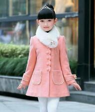 Kids Girls Trench Coat Winter Autumn Wool Blend Button Coat Plain Long Jacket
