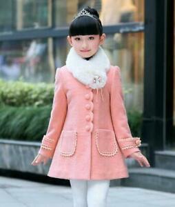 Kids Winter Clothes Korean Girls Wool Blend Coat Long Lace Warm Jacket Outwear