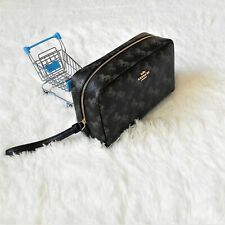 Coach Boxy Cosmetic Case Horse and Carriage Black Grey Makeup Bag 528