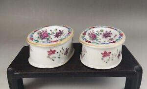 A pair of rare&beautiful Chinese 18C famille rose salts -Qianlong