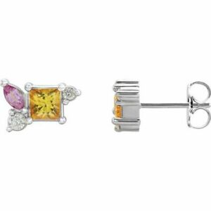 Gelbe Saphir, Rosa Saphir, & 1/8 Karat Diamant Ohrringe 14K Weiss Gold