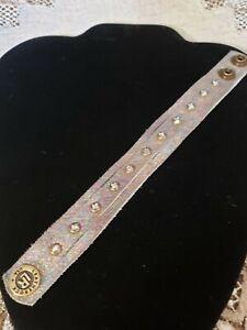 "leather rock bracelet rhinestone and iridescent 3/4"" 7-8 length FREE SHIP!"