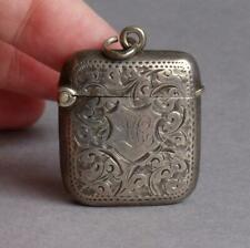 Antique VICTORIAN Chased SILVER Fob Chain/Chatelaine VESTA CASE Match Holder L.C