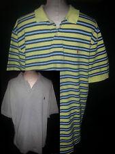 Lot 2 Mens Short Sleeve Ralph Lauren Polo Rugby Shirts Sz XL Blue Yellow Stripe