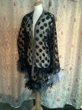 Drag Queen SHORT net black coat with Grey/Black feathers 20/22
