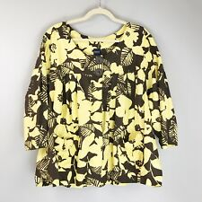 BASIC EDITIONS Floral Swing Jacket 3X Linen Blend Scoop Neck Yellow Cocoa Brown