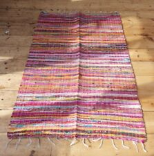 Beautiful hand loomed multi coloured Indian cotton chindi rug 90cm x 150cm