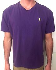Polo Ralph Lauren Purple Mens T-shirt Short Sleeve V Neck Tee Pony Logo Large