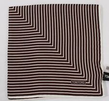 TOM FORD Silk Pocket Square Light Brown and White Striped Print TF815