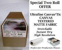 "2 Rolls Ultrafine Canvas*Tic Canvas Textured Matte Fabric 19 Mil 17"" x 75'"