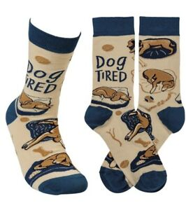 New Primitives By Kathy LOL Unisex Crew SOCKS 'DOG TIRED' With SLEEPING DOGS