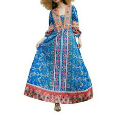 Women Ladies Hippie Ethnic Festival Dress Boho Floral Embroidery Beach Dresses L