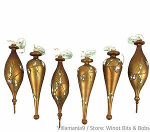 "Lot of 6 Regency International 9"" Ornaments Copper Color Green Glitter Pine Cone"