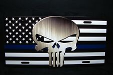 AMERICAN FLAG AND THE PUNISHER SKULL THIN BLUE LINE METAL NOVELTY LICENSE PLATE