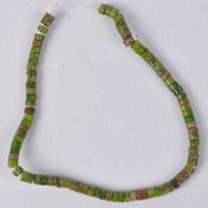 "J138252 Green sea sediment jasper cylinder loose beads 8.5"""