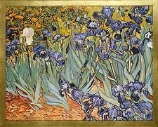 Irises by Vincent van Gogh. Framed Fine Art Reproduction Poster. Wood Gold Frame