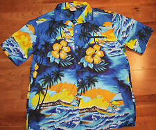 Kalena Fashions of Hawaii Hawaiian Shirt Large  Hibiscus/Wind Surfer  Polyester