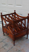 ANTIQUE MAHOGANY CHIPPENDALE 4 SECTION MAGAZINE STAND WITH DRAWER