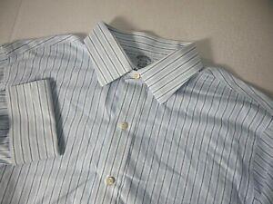 Brooks Brothers Mens Dress Shirt 16 1/2 33 Classic Blue White Stripe French Cuff