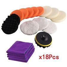 Set of 18 Buffing Polishing Waxing Sponge Pads Kit Car Polisher Buffer Adapter