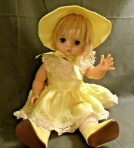 """VINTAGE EEGEE 16"""" BABY TODDLER DOLL IN YELLOW DRESS"""