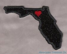 Embroidered Black Glitter Sparkle Florida FL Love State Patch Iron On Sew On USA